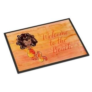Carolines Treasures BB8517MAT Mermaid Welcome Orange Indoor or Outdoor Mat - 18 x 27 in.