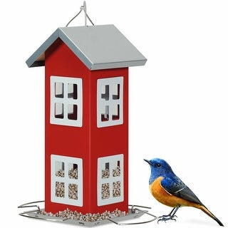 Gymax Outdoor Wild Bird Feeder Weatherproof House Design Garden Yard Decoration Red