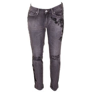 Jessica Simpson Juniors Black Mika Floral Print Best Friend Jeans 28