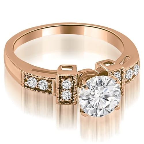 0.65 cttw. 14K Rose Gold Antique Style Milgrain Round Diamond Engagement Ring