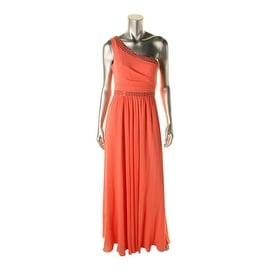 BCBG Max Azria Womens Daniele Jeweled One Shoulder Formal Dress