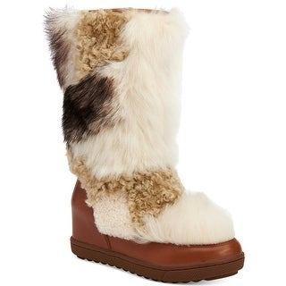 Coach Morton Leather & Shearling Hidden Wedge Boots Shoes Saddle/Natural Multi Calf/Shearling Mix