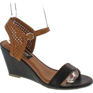 Elegant Footwear Women's Sukky-8 Two Tone Leather Wedge Sandals