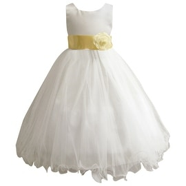 Wedding Easter Flower Girl Dress Wallao Ivory Rattail Satin Tulle (Baby - 14) Canary yellow
