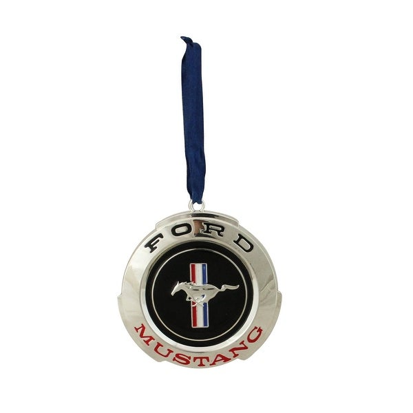 """3"""" Officially Licensed """"FORD MUSTANG"""" GT Logo Silver Plated Christmas Ornament"""