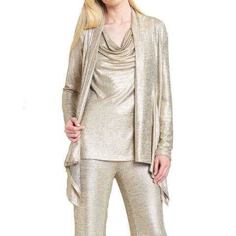 Clara Sunwoo Gold Women's Size 1X Plus Cardigan Shimmer Sweater