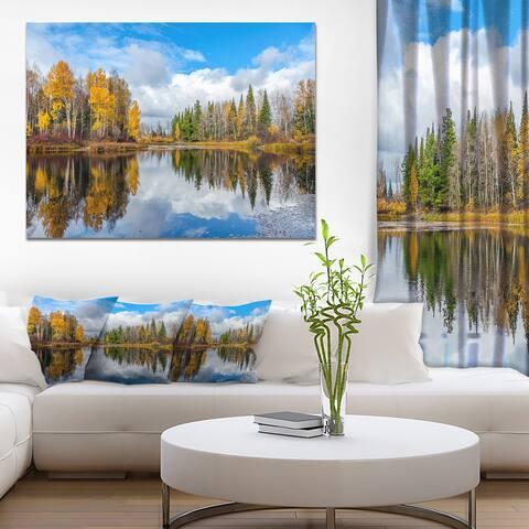 Designart 'Nice Autumn Trees With Forest Lake' Landscape Artwork Canvas Print