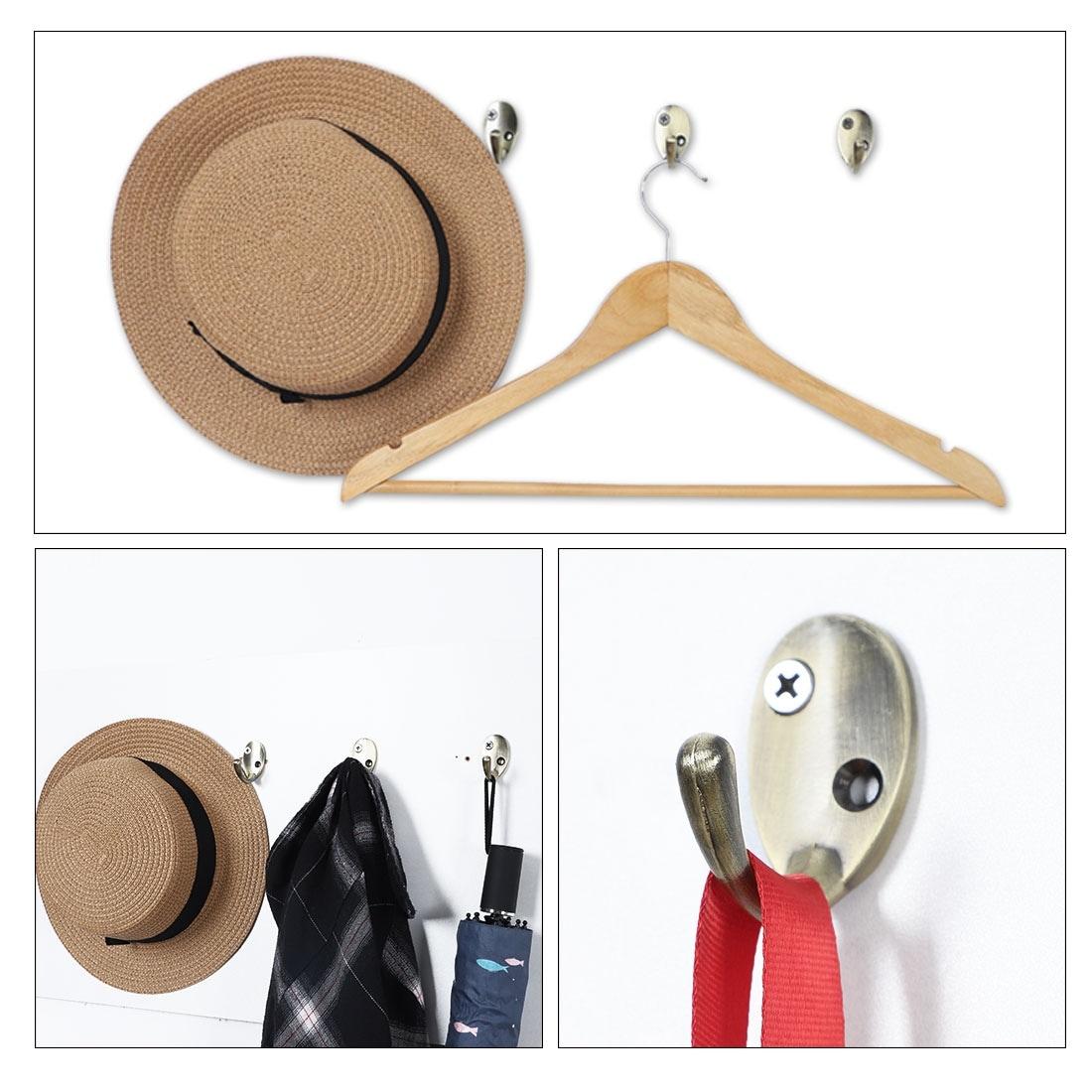 4pcs Wall Hooks Zinc Alloy Hook Coat Towel Diy Hanger W Screws Bronze Tone Bronze Tone
