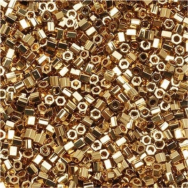 Miyuki Delica Hex Cut Seed Beads 15/0 24K Light Gold Plated DBSC034 4 GR