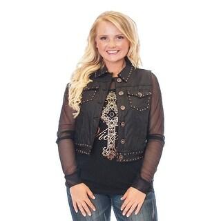 Cowgirl Tuff Western Vest Womens Stud Denim Black Metallic - black metallic