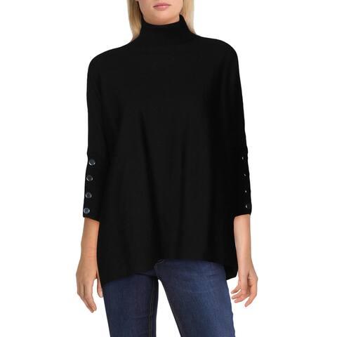 Anne Klein Womens Turtleneck Sweater Button Detail Pullover - Anne Black - XXS/XS