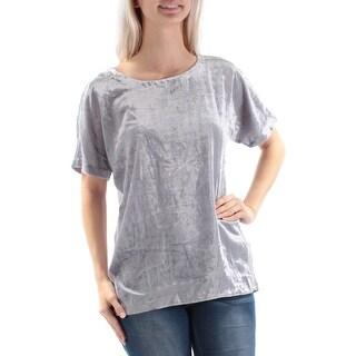 LUCKY BRAND $79 Womens New 1350 Silver Velvet Jewel Neck Dolman Sleeve Top S B+B