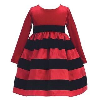 Red Black Flocked Stripe Long Sleeve Christmas Dress Girl 6M-10