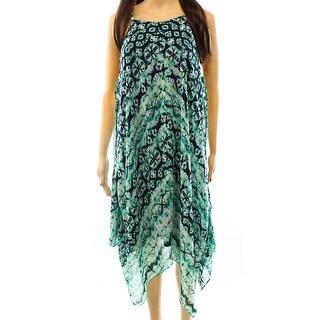 INC NEW Green Navy Women's Size 10 Asymmetrical Chiffon Abstract Dress