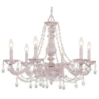 Link to Paris Market 6 Light Clear Italian Crystal White Chandelier - 28'' W x 22'' H Similar Items in Chandeliers