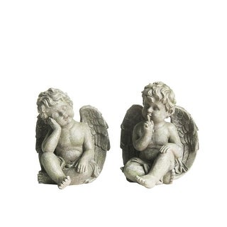 Set Of 2 Distressed Gainsboro Gray Sitting Cherub Angels Outdoor Patio Garden  Statues