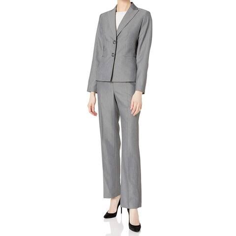 Le Suit Women's Pant Suit Set Gray Size 18 Plus2 Button Peak Lapel