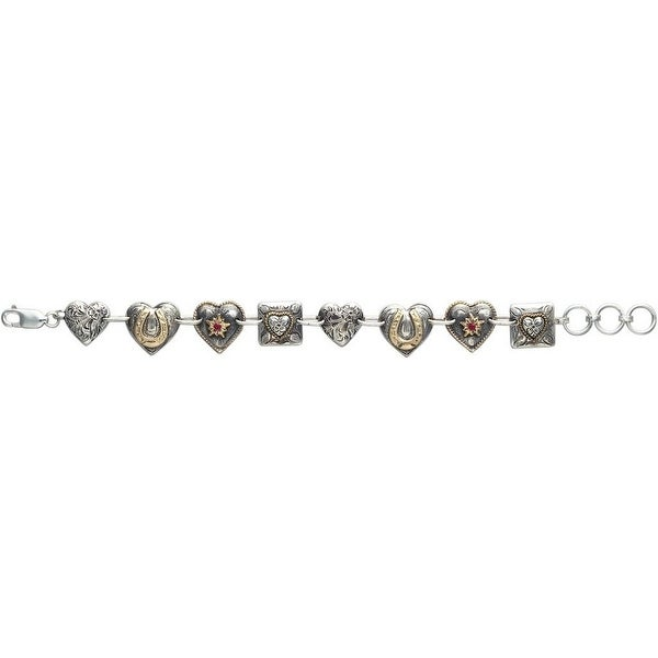 Vogt Western Womens Bracelet Hearts Charm Link Silver Gold 014-228 - silver gold