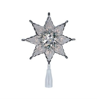 """8"""" Lighted 8-Point Silver Star Christmas Tree Topper - Clear Lights"""
