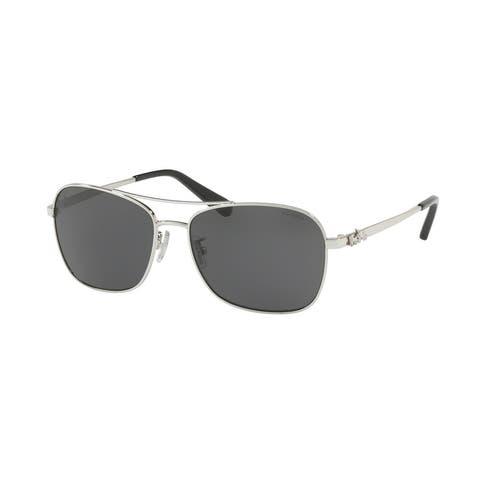 Coach Aviator HC7080 Women SILVER Frame DARK GREY SOLID Lens Sunglasses