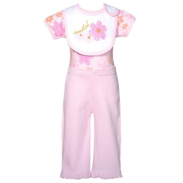 Mon Cheri Pink Flower Smile Motif 3 Pc Layette Bib Set Baby Girl 0-3M