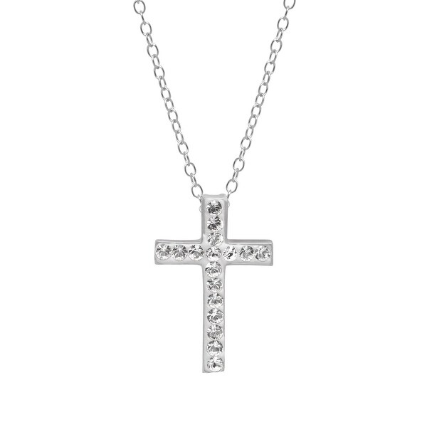 Crystaluxe Cross Pendant with Swarovski Elements Crystals in Sterling Silver - White