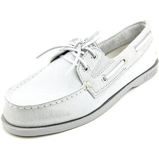 Sperry Top Sider A/O Slip On Women Moc Toe Suede Silver Boat Shoe