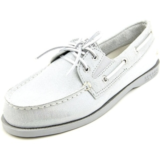 Sperry Top Sider A/O Slip On Women Moc Toe Suede Silver Boat Shoe