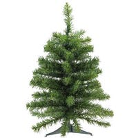 "2' x 16"" Natural Two-Tone Pine Artificial Christmas Tree - Unlit - green"