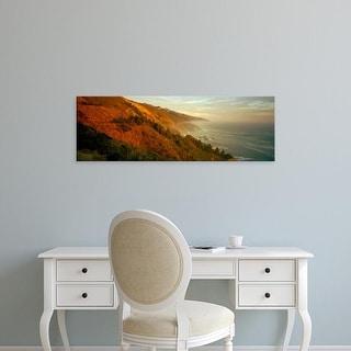 Easy Art Prints Panoramic Images's 'Coastline at dusk, Big Sur, California, USA' Premium Canvas Art