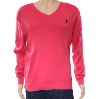 Polo Ralph Lauren NEW Pink Mens Size Medium M V-Neck Cotton Sweater
