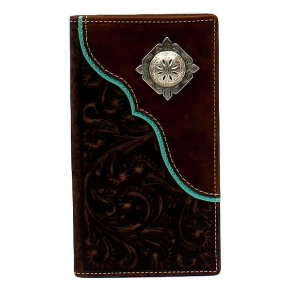 Nocona Western Wallet Mens Corner Overlay Concho Rodeo Brown - 3 3/4 x 6 3/4