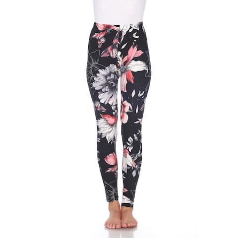 Printed Leggings - White, Coral & Black