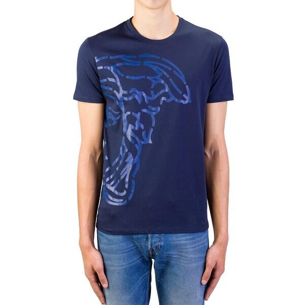 640ded42 Versace Collection Men's Cotton Medusa Logo Graphic Crewneck T-Shirt  Navy