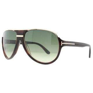 Tom Ford Dimitry TF334 56K Shiny Dark Brown Havana Rose Gold Aviator Sunglasses - havana/gold - 59mm-14mm-130mm