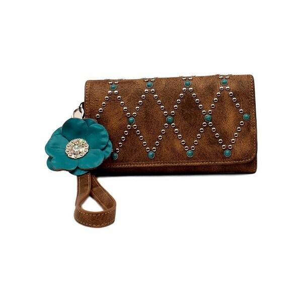 Blazin Roxx Western Wallet Women Willow Clutch Wristlet Brown - 7 1/2 x 4