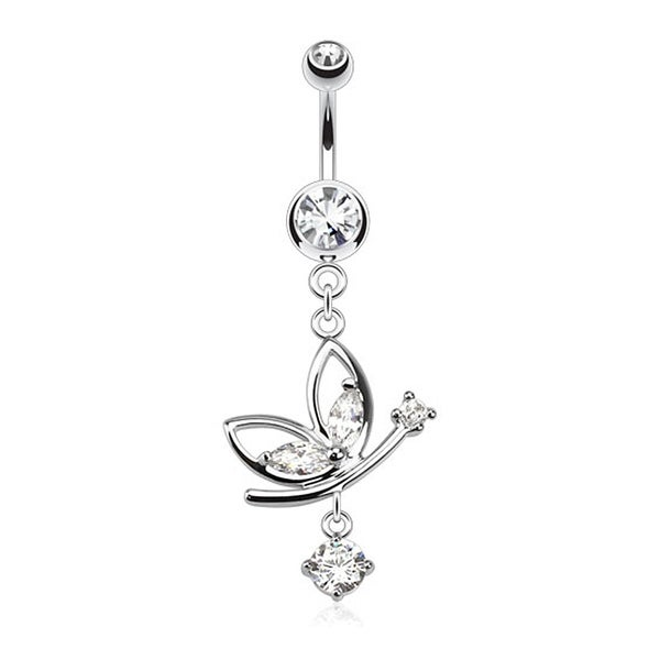Butterfly Navel Belly Button Ring with Round CZ Dangle 316L Surgical Steel