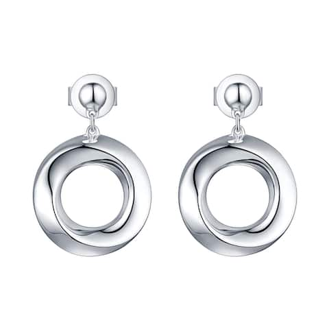 Vedantti 18k Gold Unique Twisted Open-Circle Solid Everyday Wear Drop Earrings