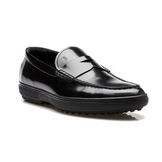 Tod's Men's Leather Mocassino Peter Loafer Shoes Black