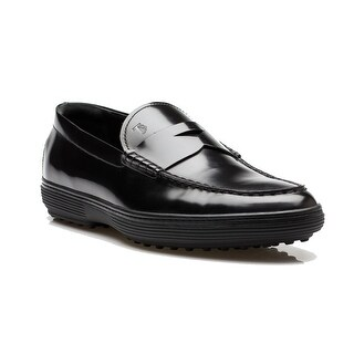 Tod's Men's Patent Leather Moccasins Loafer Shoes Black