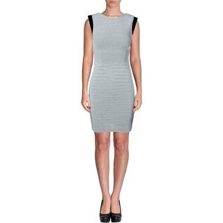Aqua Womens Striped Sleeveless Bodycon Dress