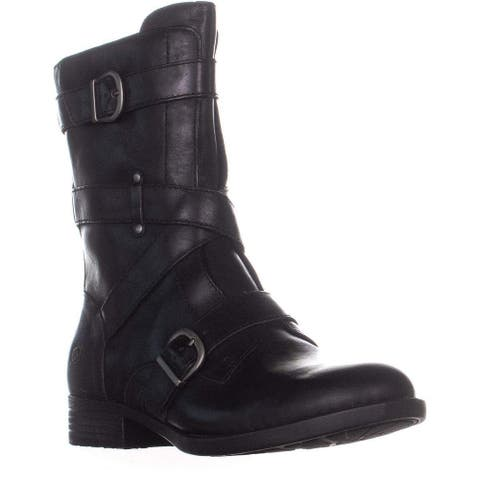 B.O.C Womens Portia Leather Almond Toe Mid-Calf Combat Boots
