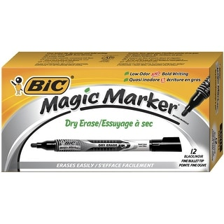 BIC Magic Marker Dry Erase Pocket Markers, Black, Pack of 12