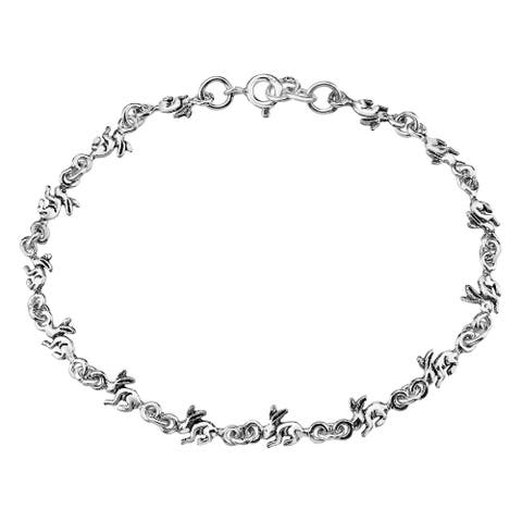 Handmade Adorable Chain of Hopping Rabbits .925 Sterling Silver Charm Bracelet (Thailand)