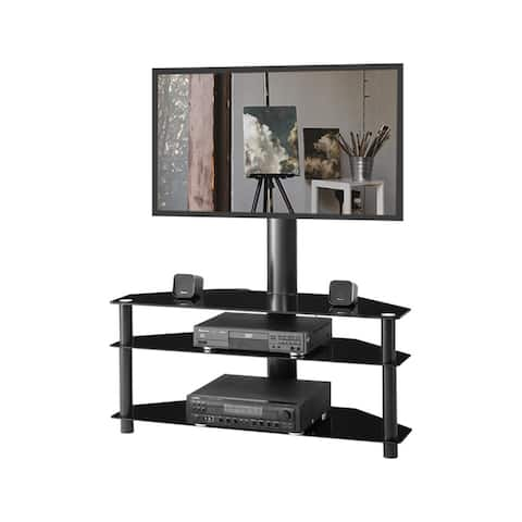 Swivel Floor TV Stand with Mount,Height Adjustable Universal 3 Tier TV Standfor 32-65 Inch, LCD LED Flat or Curved Screen TV
