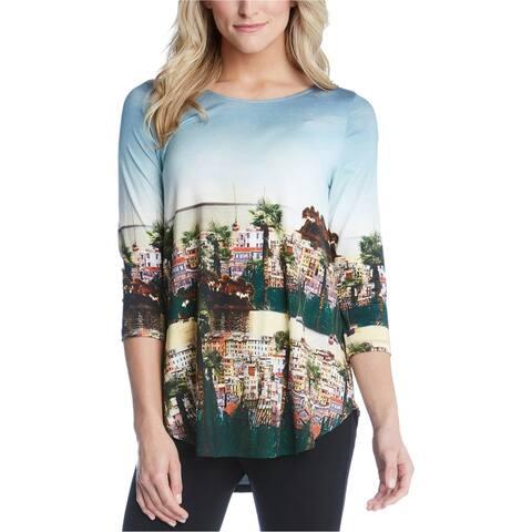 Karen Kane Womens Scenic Print High Low Hem Basic T-Shirt, Multicoloured, X-Small