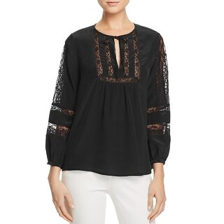 Joie Womens Casual Top Long Sleeve Ribbed Trim