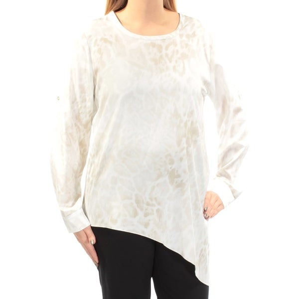 c2b51d71 Shop CALVIN KLEIN Womens Beige Asymmetrical Hem Animal Print Cuffed Jewel  Neck Wear To Work Top Size: L - Free Shipping On Orders Over $45 -  Overstock - ...