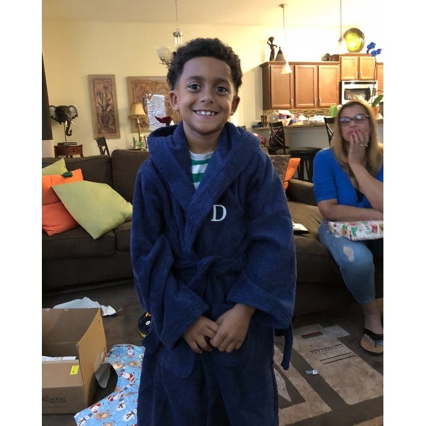 c5344b28da Shop Sweet Kids Turkish Cotton Terry Midnight Blue with White Monogram Hooded  Bathrobe - On Sale - Free Shipping Today - Overstock - 11441893