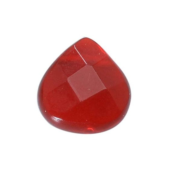 Glass Faceted Heart Cut Briolette Beads 8x8mm - Wine Red (4)